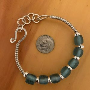 Jewelry - Recycled Glass and Fine Silver Bracelet